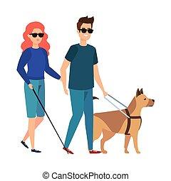 cego, mulher, cão, ajudante, guia