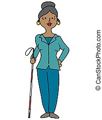 cego, mulher hispânica, cana, usando