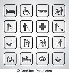 cego, paciente, símbolo, incapacitado, homem velho