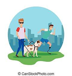 cego, prótese, homem, cão, guia