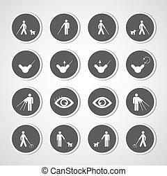 cego, símbolo, homem