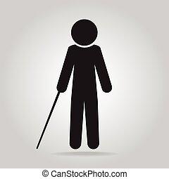 cego, símbolo, vara, ilustração, homem