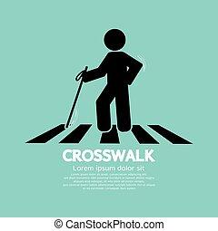 cego, símbolo, vetorial, crosswalk, ilustração