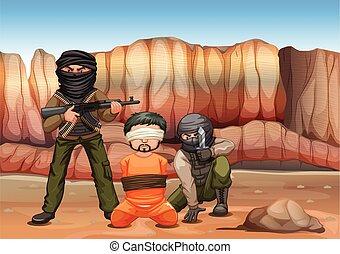 cego, sendo, dobrado, vítima, terroristas