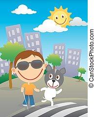 cego, seu, cão, criança, guia, feliz