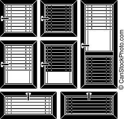 cego, veneziano, símbolos, janela, vetorial, pretas