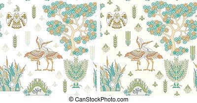 cegonha, padrão, seamless, pássaros