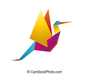 cegonha, vibrante, cores, origami