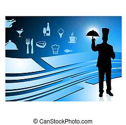 Cehf on blue dinner background