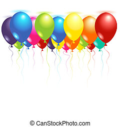Ceiling balloons inflated with helium over white