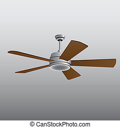 Ceiling Fan for living and office. Vector illustration.