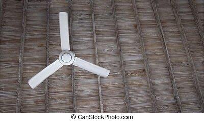 Ceiling Fan Spinning Slowly Overhead. Video 1080p - Low...