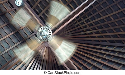 Ceiling fan spins under wooden villa ceiling at tropical resort,ceiling fan is a mechanical fan mounted on the ceiling of a room or space,