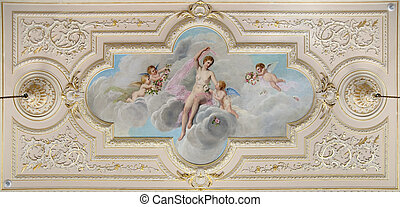 ceiling fresco decorated with figure of a woman and four little angels