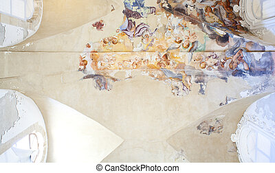Ceiling frescoes in an old building
