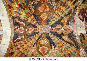 Ceiling frescoes of Hagia Sophia Church in Trabzon, Turkey -...