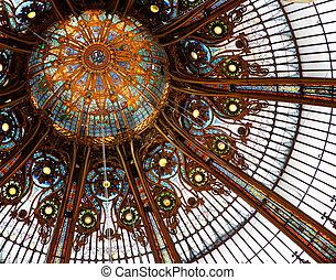Beautiful ceiling in shop Galleries Lafayette, Paris