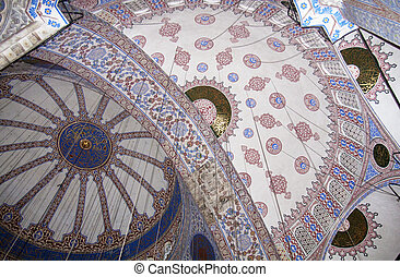 Ceiling in the Blue (Sultan Ahmed) Mosque, Istanbul, Turkey