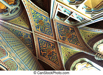 Ceiling inside Matthias church, Budapest, Hungary -...