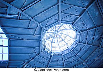 ceiling inside modern office - Blue ceiling inside modern...
