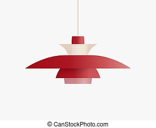 Ceiling lamp for scandinavian interior, classic danish interior furniture object for soft and warm home lighting, lamp over table, flat realistic vector illustration