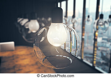 Closeup of ceiling lamp in cafe interior. Idea concept. 3D Rendering