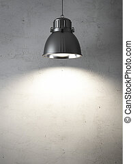 ceiling lamps  and  concrete wall