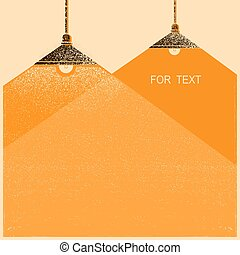 Ceiling lamps lighting background.Vector retro illustration