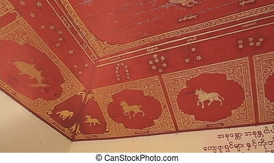 Ceiling murals featuring Burmese horoscope in The Shwezigon...