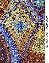 Ceiling of Aksaray mausoleum, Samarkand, Uzbekistan - Golden...