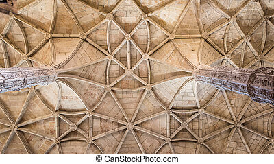 Ceiling of the Hieronymus monastery in Belem in Lisbon, Portugal