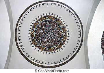 Ceiling painting in little Hagia Sofia mosque in Istanbul, Turkey