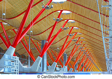 Ceiling structure of Barajas International airport in Madrid, Spain. Roof details of airport terminal in Madrid.