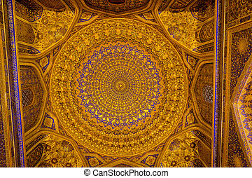 Ceiling, Tilya-Kori Madrasah, Registan, Samarkand - Golden...