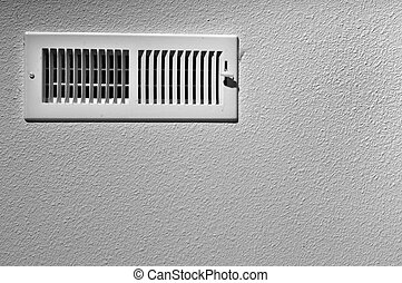 Ceiling vent - Black and white photograph of a ceiling vent ...