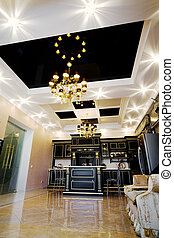 ceiling with a chandelier