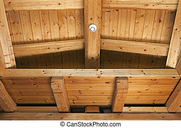 Ceiling with exposed beams of fir wood