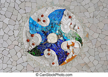 Ceiling with mosaic at Guell Park