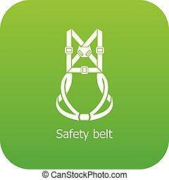 ceinture, sécurité, vecteur, vert, icône