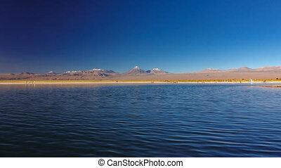 Cejar salt lake and Licancabur volcano in Atacama - Cejar...