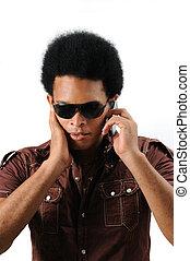 cel, gebruik, latino, man, telefoon