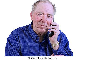 cel, gebruik, man, bejaarden, telefoon