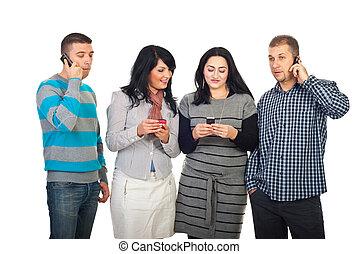 cel, gebruik, vrolijke , telefoons, mensen