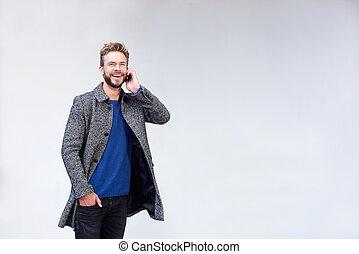 cel, het luisteren, telefoon, man, mooi, het glimlachen
