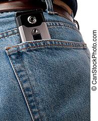 Cel phone in back pocket