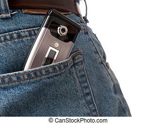 Cel phone in back pocket of jeans