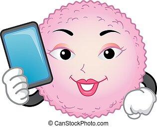 cel, rekenmachine, mascotte, ei, illustratie, ovulatie