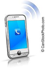 cel, smart, telefoon, beweeglijk, 3d