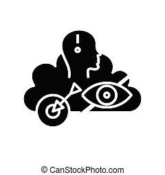 cel, symbol, ikona, ku, ilustracja, czarnoskóry, wektor, płaski, glyph, pojęcie, poznaczcie.