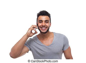 cel telefoongesprek, man, ongedwongen, smart, spreken